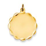0.027 Gauge Engravable Scalloped Disc Charm 14k Gold XM175/27