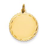 0.027 Gauge Engravable Scalloped Disc Charm 14k Gold XM176/27
