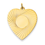 Etched .018 Gauge Engravable Heart Disc Charm 14k Gold XM213/18