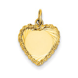 0.013 Gauge Engravable Heart with Rope Disc Charm 14k Gold Polished XM219/13