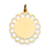 Plain .018 Gauge Engravable Flower Disc Charm 14k Gold XM244/18
