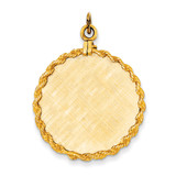Patterned .013 Gauge Circular Engravable Disc with Rope Charm 14k Gold XM277/13