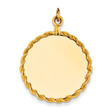 Plain .013 Gauge Circular Engravable Disc with Rope Charm 14k Gold XM283/13