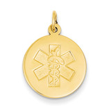 Medical Jewelry Unenameled Pendant 14k Gold XM407N