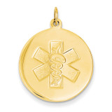 Non-enameled Medical Jewelry Pendant 14k Gold XM409N