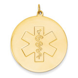 Medical Jewelry Unenameled Pendant 14k Gold XM411N