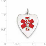 Heart-Shaped Polished Enameled Engravable Medical Jewelry P 14k White Gold XM465