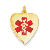 Heart-Shaped Polished Enameled Engravable Medical Jewelry Pendant 14k Gold XM467