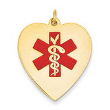 Heart-Shaped Polished Enameled Engravable Medical Jewelry Pendant 14k Gold XM468