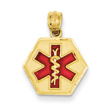 Red Enameled Medic ID Pendant 14k Gold XM521