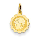 Boy Head on .009 Gauge Engravable Scalloped Disc Charm 14k Gold XM65/09