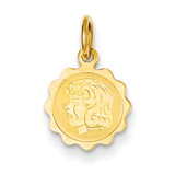 Girl Head on .009 Gauge Engravable Scalloped Disc Charm 14k Gold XM66/09