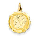 Boy Head on .013 Gauge Engravable Scalloped Disc Charm 14k Gold XM67/13