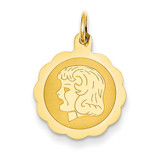 Girl Head on .013 Gauge Engravable Scalloped Disc Charm 14k Gold XM68/13