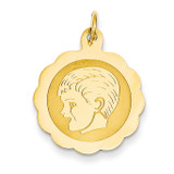 Boy Head on .013 Gauge Engravable Scalloped Disc Charm 14k Gold XM69/13