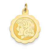 Girl Head on .013 Gauge Engravable Scalloped Disc Charm 14k Gold XM70/13