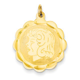 Girl Head on .011 Gauge Engravable Scalloped Disc Charm 14k Gold XM72/11