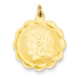 Girl Head on .011 Gauge Engravable Scalloped Disc Charm 14k Gold XM72/11