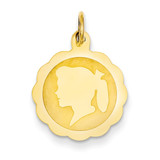 Girl Head on .009 Gauge Engravable Scalloped Disc Charm 14k Gold XM84/09
