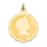 Boy Head on .018 Gauge Engravable Scalloped Disc Charm 14k Gold XM85/18
