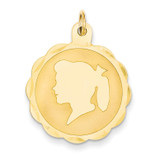 Girl Head on .013 Gauge Engravable Scalloped Disc Charm 14k Gold XM86/13