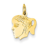 Girl Head Charm 14k Gold XM91/13