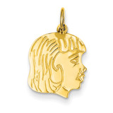 Girl Head Charm 14k Gold XM95/13