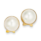 10-11mm Cultured Mabe Pearl Earrings 14k Gold XMP86