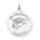 Personalized Graduation Charm 14k White Gold XNA361W