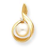 7mm Cultured Pearl Diamond pendant 14k Gold XP1742PL/A