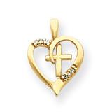 Diamond Heart & Cross Pendant 14k Gold XP1769AA