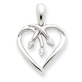 Three Stone Diamond Heart Pendant 14k White Gold XP2180AA