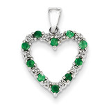 Diamond and Emerald Heart Pendant 14k White Gold XP2363E/AA