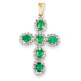 Diamond & Emerald Cross Pendant 14k Gold XP2399E/A