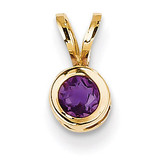 4mm Amethyst bezel pendant 14k Gold XP300AM