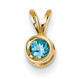 4mm Blue Topaz bezel pendant 14k Gold XP300BT