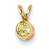 4mm Peridot bezel pendant 14k Gold XP300PE