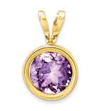 6mm Amethyst bezel pendant 14k Gold XP301AM
