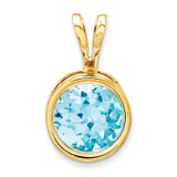 6mm Blue Topaz bezel pendant 14k Gold XP301BT