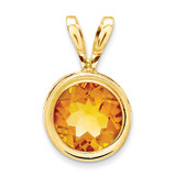 6mm Citrine bezel pendant 14k Gold XP301CI