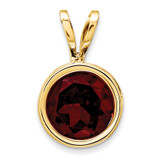 6mm Garnet bezel pendant 14k Gold XP301GA