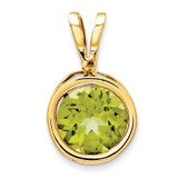 6mm Peridot bezel pendant 14k Gold XP301PE