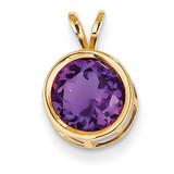 8mm Amethyst bezel pendant 14k Gold XP303AM