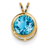 8mm Blue Topaz bezel pendant 14k Gold XP303BT