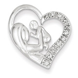 Mother and Baby Diamond Heart 14k White Gold XP3089AA