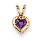 5mm Heart Amethyst bezel pendant 14k Gold XP311AM