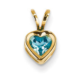 5mm Heart Blue Topaz Bezel Pendant 14k Gold XP311BT