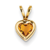 5mm Heart Citrine bezel pendant 14k Gold XP311CI