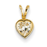 5mm Heart Cubic Zirconia bezel pendant 14k Gold XP311CZ