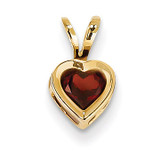 5mm Heart Garnet bezel pendant 14k Gold XP311GA